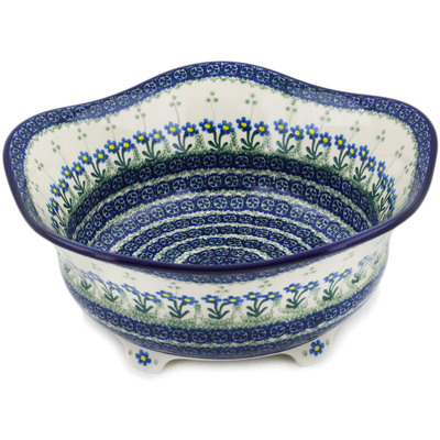 "Polish Pottery Bowl 12"" Blue Daisy Circle"