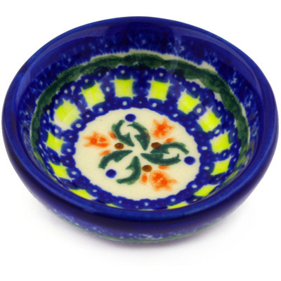 "Polish Pottery Bowl 3"" Cocentric Tulips"