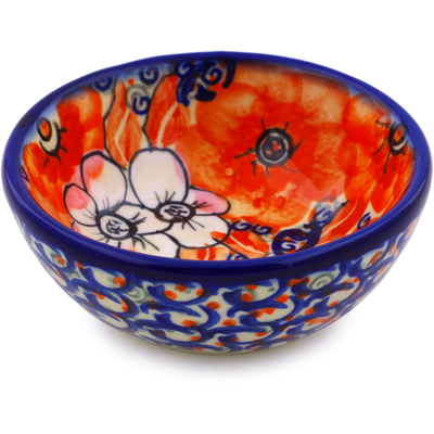 "Polish Pottery Bowl 3"" Poppy Passion UNIKAT"