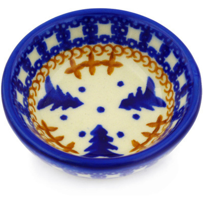 "Polish Pottery Bowl 3"" Winter Snow"