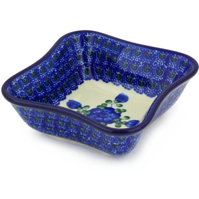 "Polish Pottery Bowl 4"" Blue Poppies"