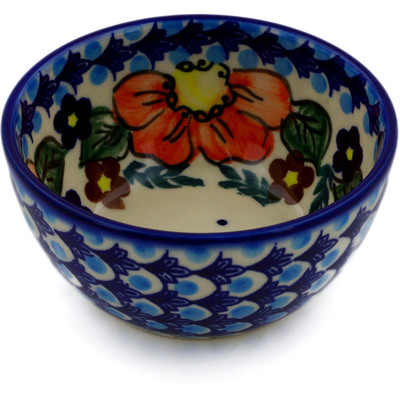"Polish Pottery Bowl 4"" Bold Poppies UNIKAT"