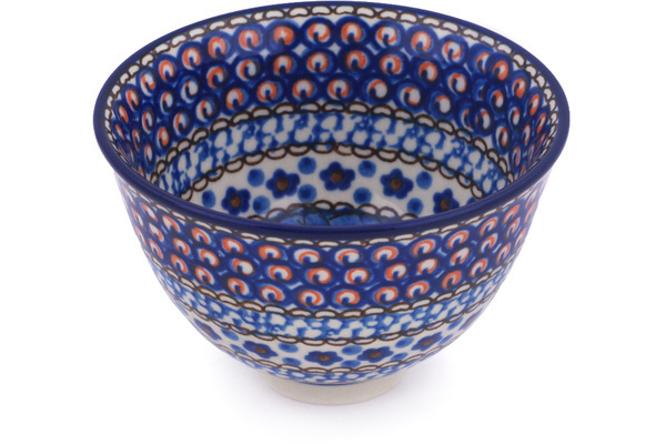 Polish Pottery Bowl 4 Cobalt Poppies Unikat
