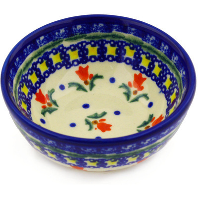 "Polish Pottery Bowl 4"" Cocentric Tulips"