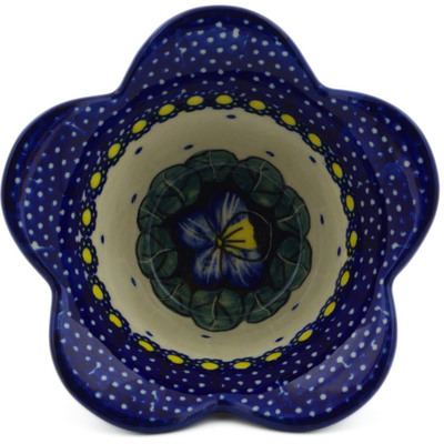 "Polish Pottery Bowl 4"" Flower In The Grass UNIKAT"