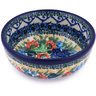 "Polish Pottery Bowl 4"" Lupines And Roses UNIKAT"