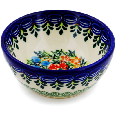 "Polish Pottery Bowl 4"" Ring Of Flowers UNIKAT"