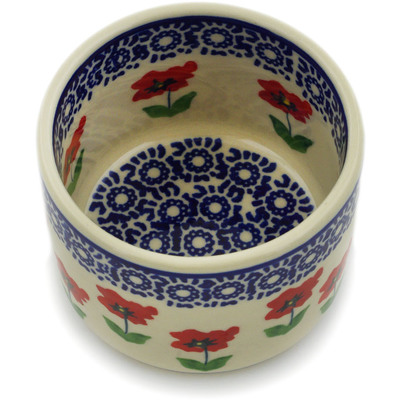 "Polish Pottery Bowl 4"" Wind-blown Poppies"
