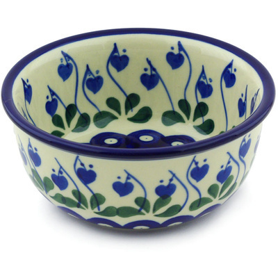 "Polish Pottery Bowl 5"" Bleeding Heart Peacock"