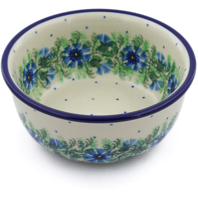 "Polish Pottery Bowl 5"" Blue Bell Wreath"