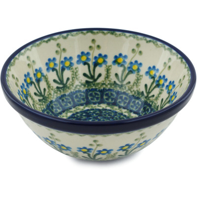 "Polish Pottery Bowl 5"" Blue Daisy Circle"