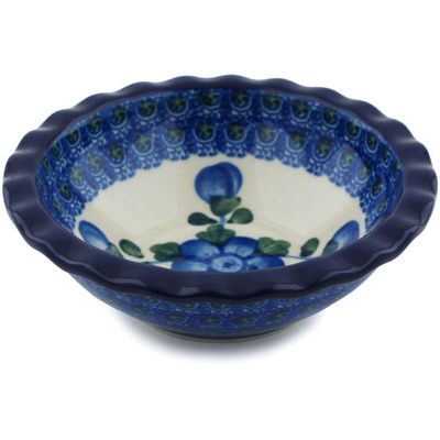 "Polish Pottery Bowl 5"" Blue Poppies"