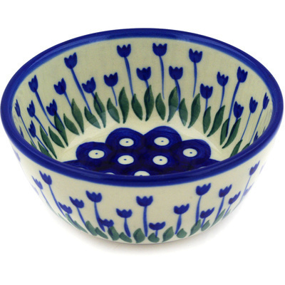 "Polish Pottery Bowl 5"" Blue Tulip Peacock"