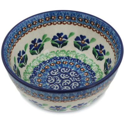 "Polish Pottery Bowl 5"" Cobalt Daisy Field UNIKAT"