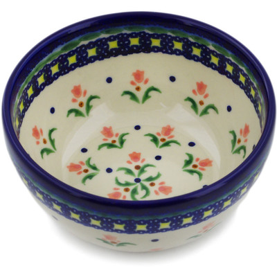 "Polish Pottery Bowl 5"" Cocentric Tulips"