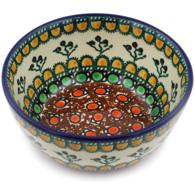 "Polish Pottery Bowl 5"" Cranberry Medley UNIKAT"