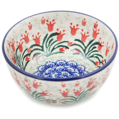 "Polish Pottery Bowl 5"" Crimson Bells"
