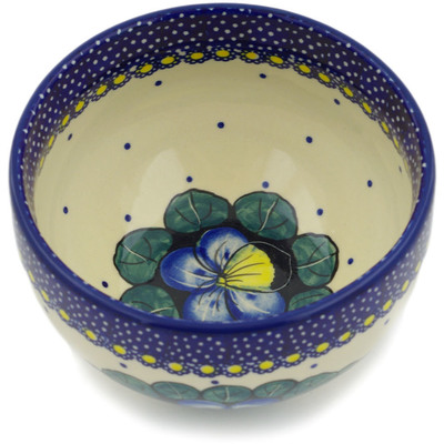 "Polish Pottery Bowl 5"" Flower In The Grass UNIKAT"