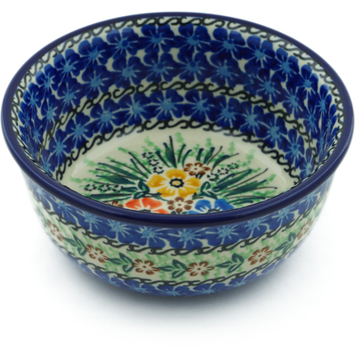 "Polish Pottery Bowl 5"" Flower Patch UNIKAT"