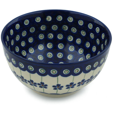 "Polish Pottery Bowl 5"" Flowering Peacock"
