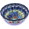 "Polish Pottery Bowl 5"" Lupines And Roses UNIKAT"