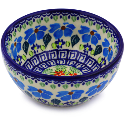 "Polish Pottery Bowl 5"" Pansy Morning"