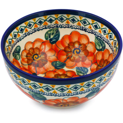 "Polish Pottery Bowl 5"" Peach Poppies UNIKAT"