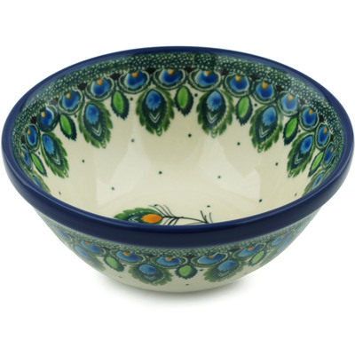 "Polish Pottery Bowl 5"" Peacock Feather"