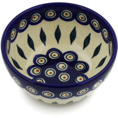 "Polish Pottery Bowl 5"" Peacock"