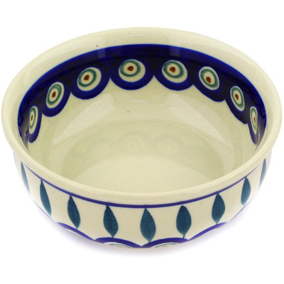 "Polish Pottery Bowl 5"" Peacock Leaves"