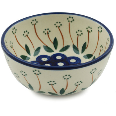 "Polish Pottery Bowl 5"" Pushing Daisy Peacock"
