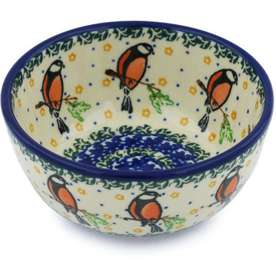 "Polish Pottery Bowl 5"" Redbird On A Wire"
