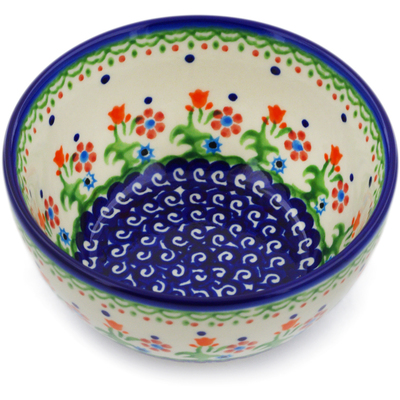 "Polish Pottery Bowl 5"" Spring Flowers"