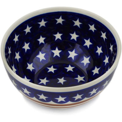 "Polish Pottery Bowl 5"" Stars And Stripes Forever"