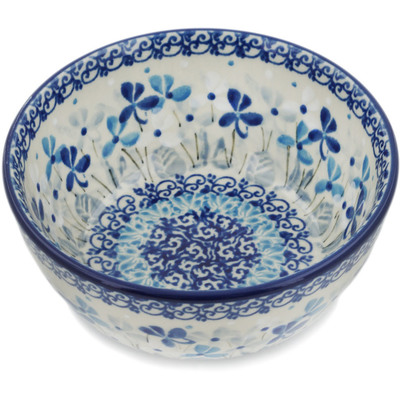 "Polish Pottery Bowl 5"" Stormy Blooms UNIKAT"