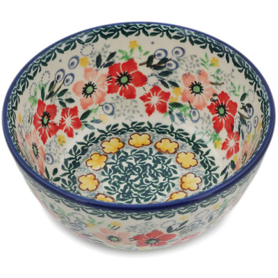 "Polish Pottery Bowl 5"" Summer Joy UNIKAT"
