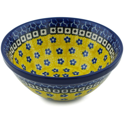 "Polish Pottery Bowl 5"" Sunburst Daisies"