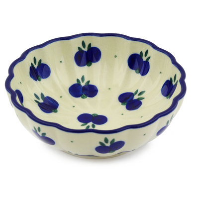 "Polish Pottery Bowl 5"" Wild Blueberry"
