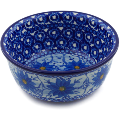 "Polish Pottery Bowl 5"" Winter Water Daisies UNIKAT"