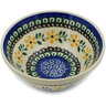 "Polish Pottery Bowl 5"" Yellow Daisy Swirls"
