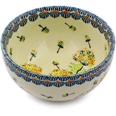 "Polish Pottery Bowl 5"" Yellow Dandelions"