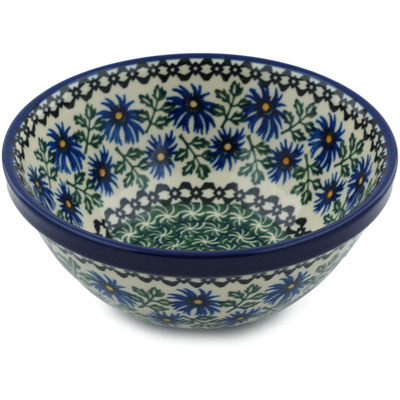 "Polish Pottery Bowl 6"" Blue Chicory"
