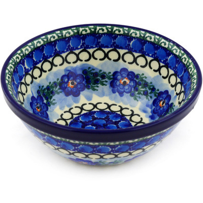 "Polish Pottery Bowl 6"" Blue Delight UNIKAT"