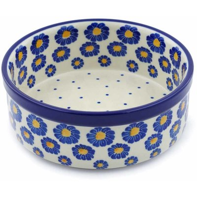 "Polish Pottery Bowl 6"" Blue Zinnia"