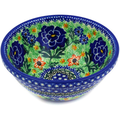 "Polish Pottery Bowl 6"" Bold Carnation UNIKAT"