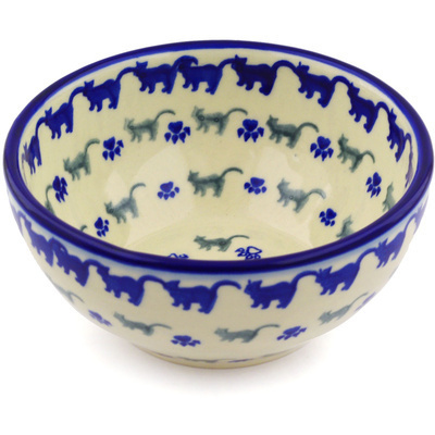 "Polish Pottery Bowl 6"" Boo Boo Kitty Paws"