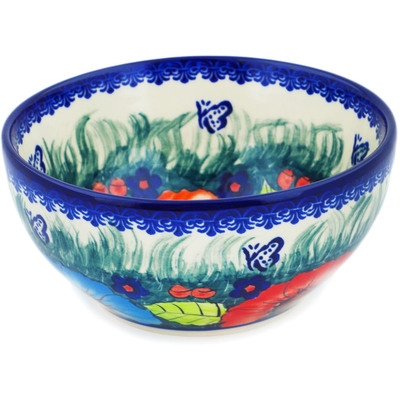 "Polish Pottery Bowl 6"" Butterfly Splendor UNIKAT"