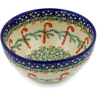 "Polish Pottery Bowl 6"" Candy Cane Wreath"