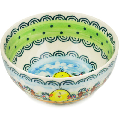 "Polish Pottery Bowl 6"" Chickadee UNIKAT"
