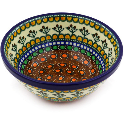 "Polish Pottery Bowl 6"" Cranberry Medley UNIKAT"